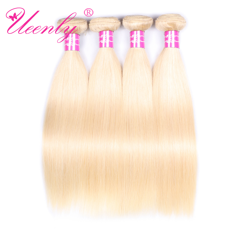 Hair Bundles UEENLY Hair-Extension Straight 100%Human-Hair Brazilian 613 Weave Blonde-Color