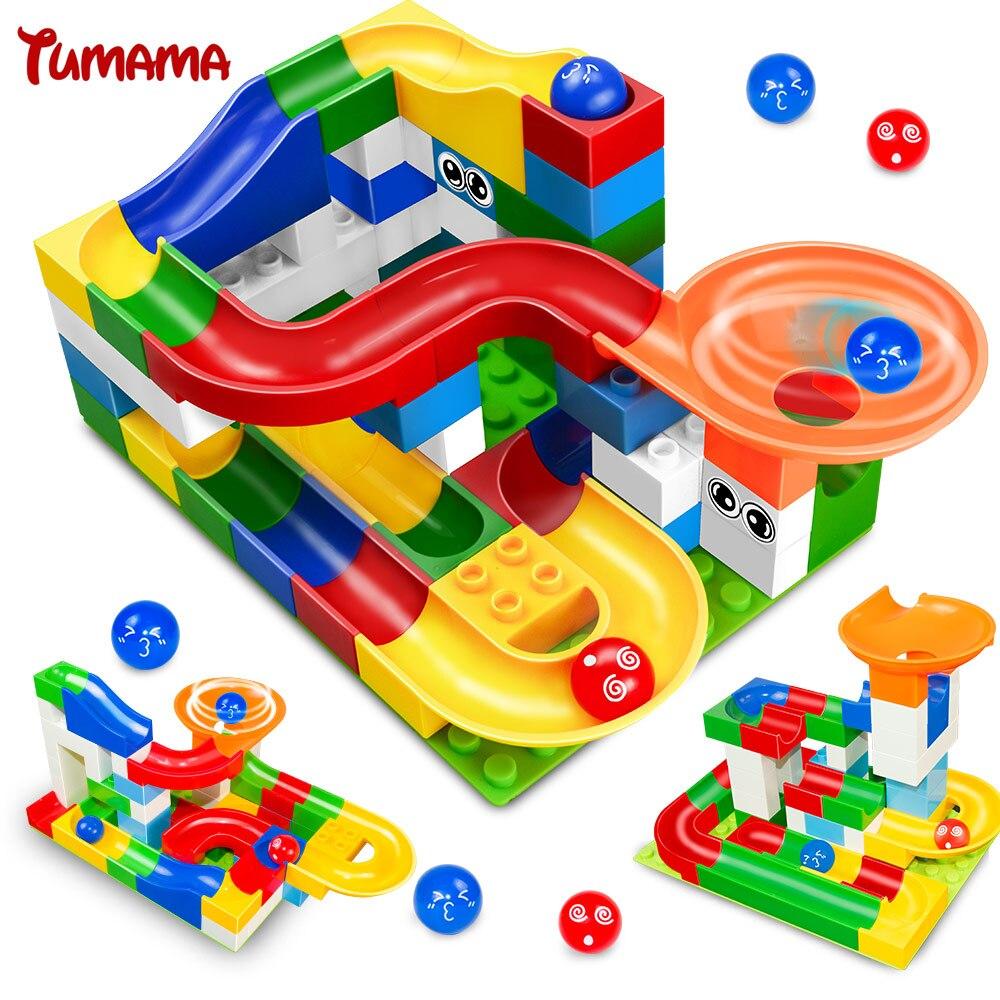 Tumama 52 pz FAI DA TE Costruzione di Gara Marmo Run Palle Per Bambini Pista Labirinto Per Bambini Gioco Building Blocks Giocattoli Compatibili Con Duplo