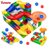 Marble Race Run Building Blocks DIY Assembly Construction Maze Gaming Balls Track Children Toys Blocks Compatible