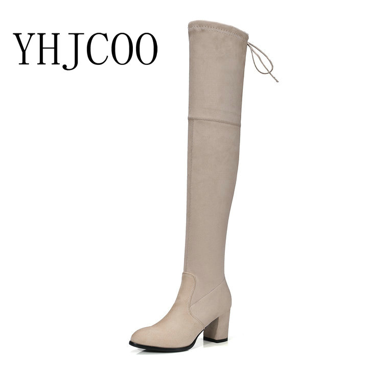 2017 New Faux Suede Slim Boots Sexy Over the Knee High Women Boots Womens Autumn Stretch Boots Thick with Boots Shoes Woman