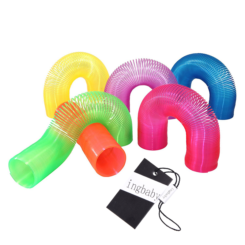 Green Colored Plastic Spring Ring Magic StackIng Ring Children's Puzzle Toys
