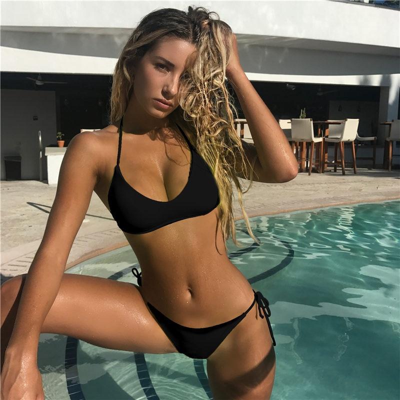 HTB1b.D0VhnaK1RjSZFtq6zC2VXao Solid Bandage Bikini Set Women Sexy High Cut Bathing Suit Swimsuit New Low Waist Halter Top Swimwear Summer Beachwear Biquini