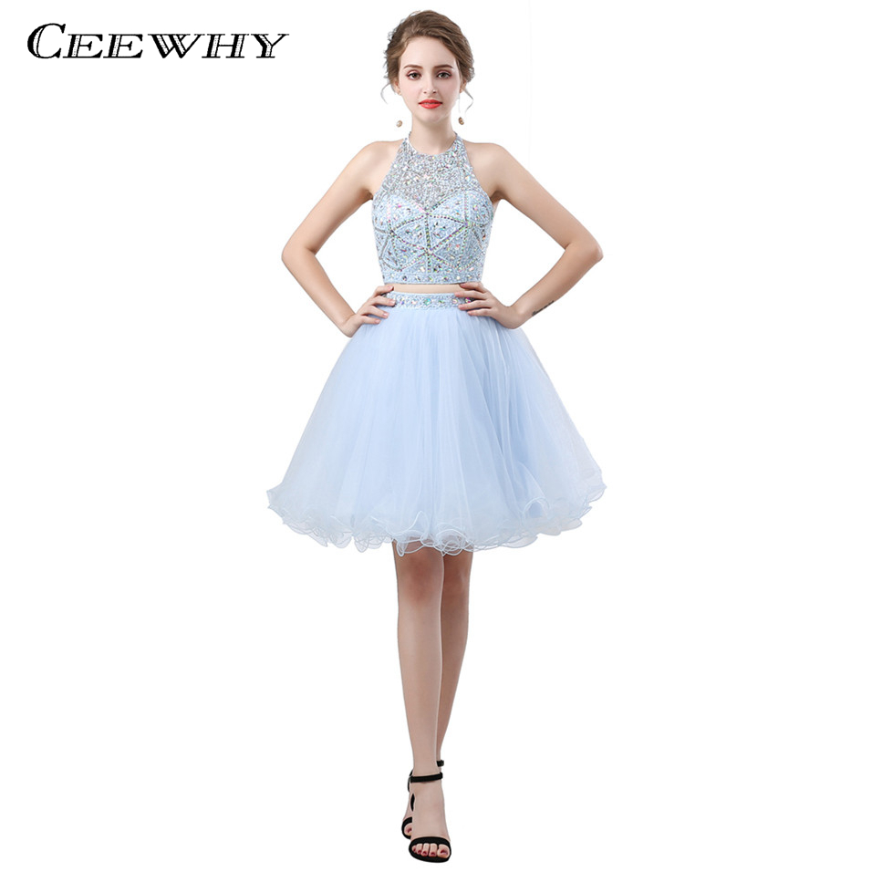 CEEWHY Knee Length Short   Cocktail     Dresses   Two Piece Vestido   Cocktail   Crystal Beaded Graduation   Dresses   Prom   Dresses   2018