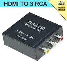 Aikexin 1080 P HDMI para 3RCA Composite CVBs AV HDMI Conversor de Áudio e Vídeo Adaptador HDMI2AV Suporte 720 P/1080 P em caso De Metal