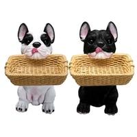 Fun cartoon dog resin storage box Creative dog and basket home decor storage box
