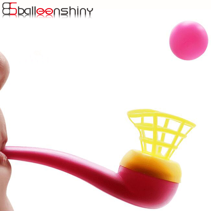 BalleenShiny 4PCS Blow Pipe Balls Baby Funny Toys Educational Classic Outdoor Fun Toy Balls Plastic Floating Ball Children Toy