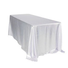 5pcs/ Pack Rectangular Satin Tablecloth White/Black Table Cover for Wedding Party Restaurant Banquet Decorations 57 x 126 inch(China)