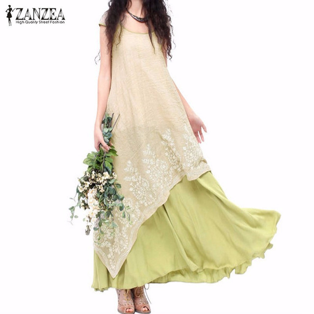 Zanzea mujeres dress 2017 verano flojo ocasional del cuello de o de manga corta floral bordado largo maxi dress vestidos de la vendimia de la alta calidad