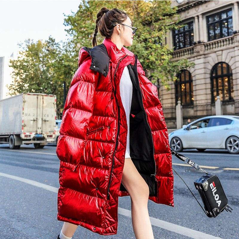 Pleine Parka Hiver Bas Veste Red Femmes Brillant Le Capuchon Chaud Streetwear De Manches Outwear Longue Coton Épais À Manteau Vers Mode Femelle 173 xr0YvxnT
