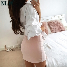 One Shoulder Crop Top Bow Knot Blouse Shirt