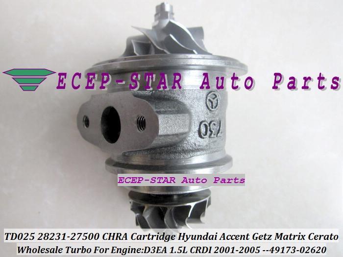 Turbo CHRA ตลับหมึก TD025 28231 27500 49173 02620 49173 02622 สำหรับ HYUNDAI Accent Getz Matrix สำหรับ KIA cerato Rio D3EA 1.5L CRDI-ใน ไอดี จาก รถยนต์และรถจักรยานยนต์ บน ECEP-STAR Auto Parts