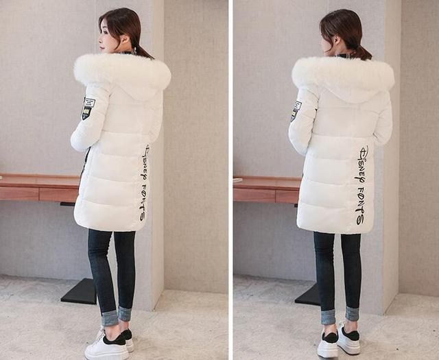 2018 autumn Winter women fur collar Long hoodie Down Jacket Plus Size Long Hooded Duck Down thick Parkas