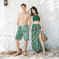 ZOGAA 2019 New Couples Women's Split Three piece Slim Top Skirt Casual Fashion Holiday Clothing Men's Beach Shorts