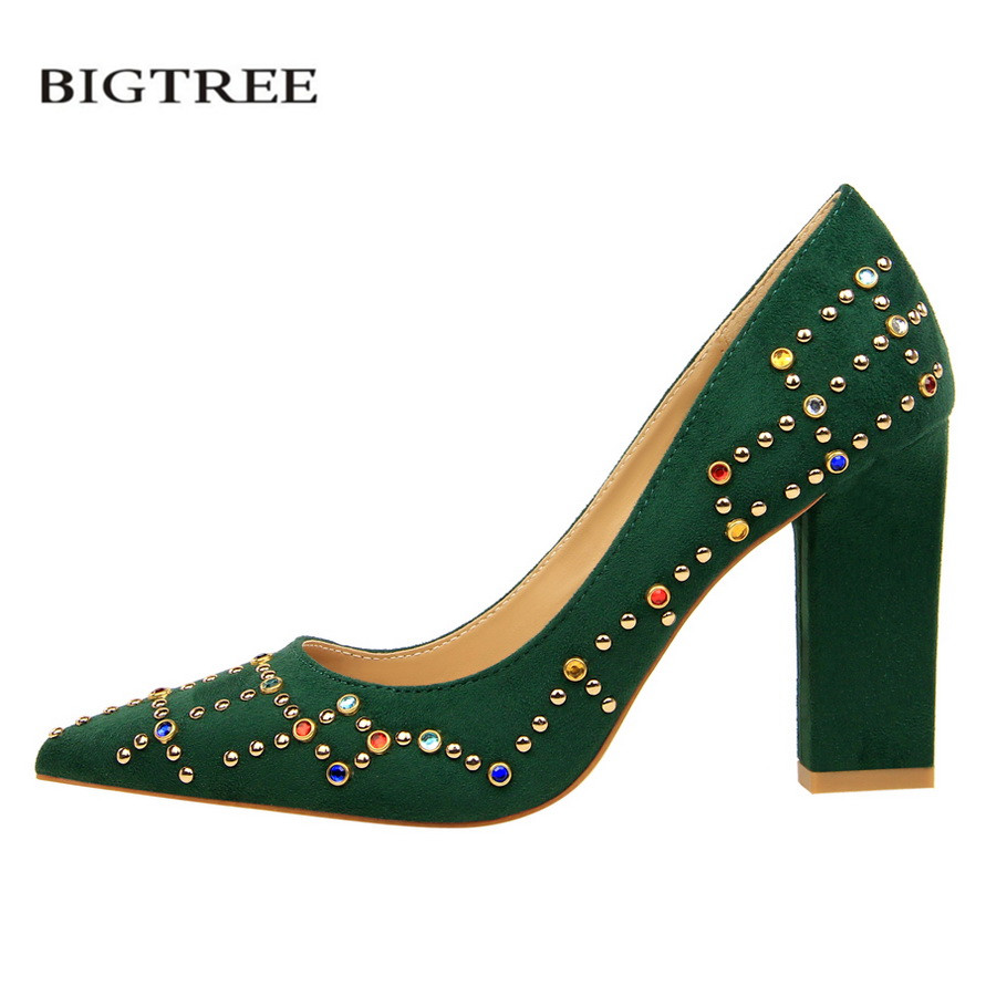 BIGTREE 2018 New Spring Summer Elegant Pumps Thick Crystal European Fashion High Heels Shoes Women Single Shoes G5239-11 2016 spring and summer free shipping red new fashion design shoes african women print rt 3