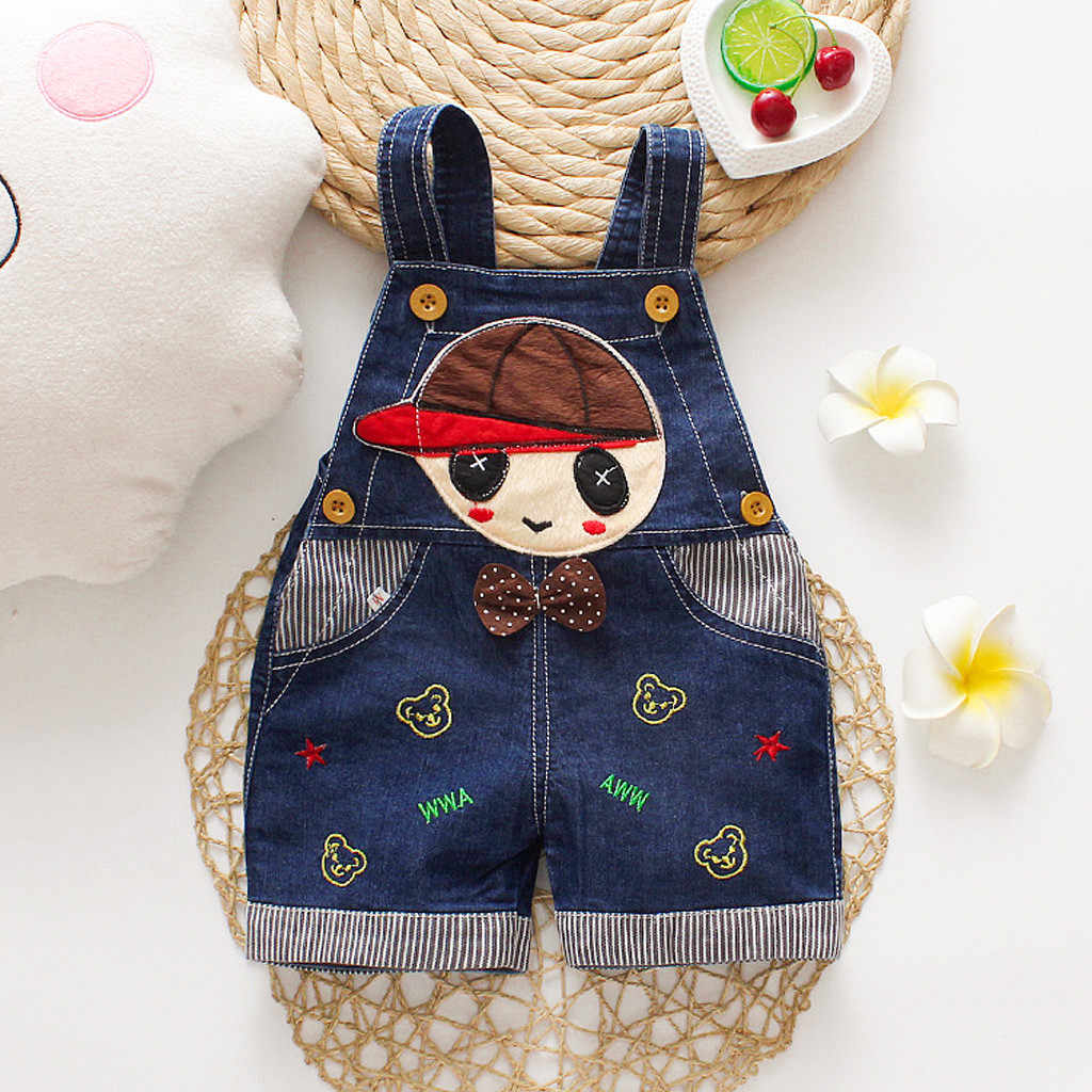 2019 HOT Toddler Kids Baby Boy Girl Cute Romper Sleeveless Cartoon Print Overall Denim Pants Clothes Casual Romper