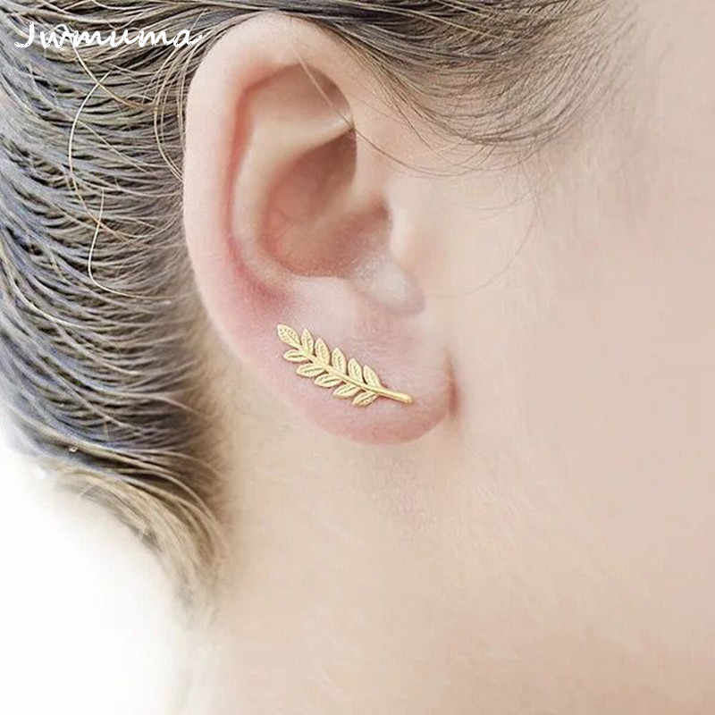 New Simple Women's Feather Earrings Gold and Silver Leaf Stud Earrings Temperament Metal Alloy Jewelry for Women Friend Gift