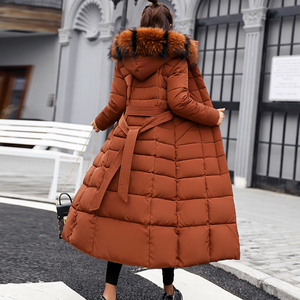 Image 5 - Fitaylor Winter Women Long Cotton Parkas Large Fur Collar Hooded Coat Casual Padded Warm Jackets Wadded Snow Overcoat