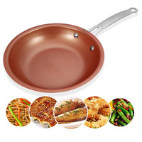 1Pc Durable Nonstick Copper Frying Pan Skillet With Ceramic Coating Induction Gas Cooker Oven Dishwasher Pan