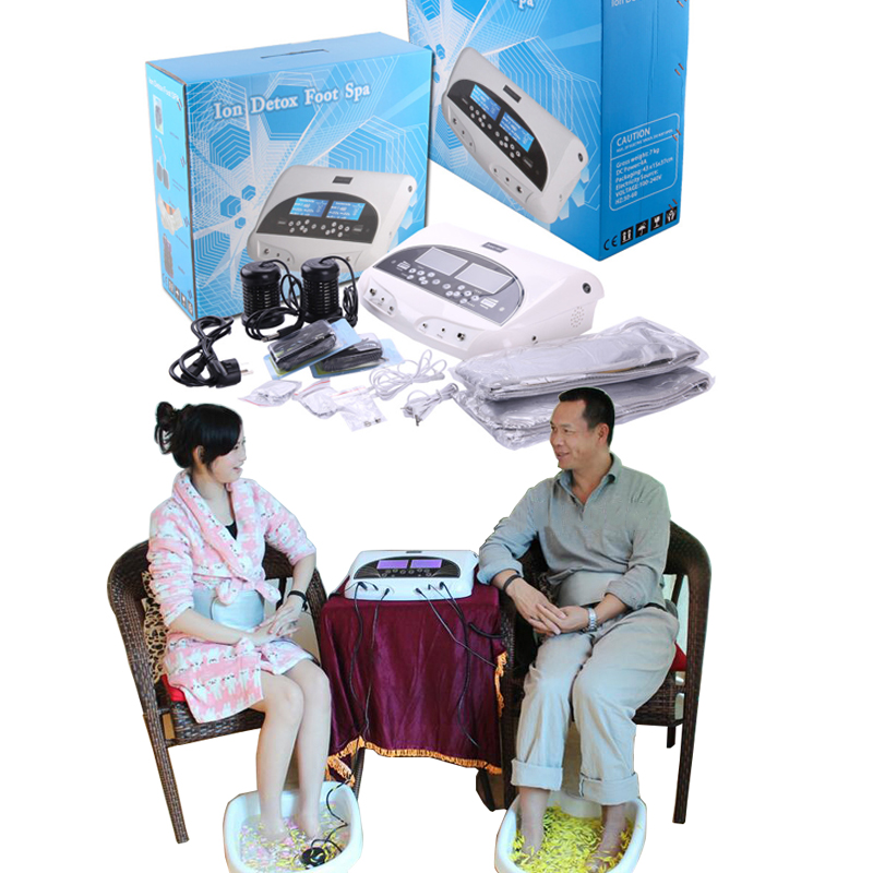 3 in 1 Ionic Detox foot bath Sub-health ionic cleanse SPA machine+infrared ray belt with two person ionic detox through feet detox ion cleanse machine ionic foot spa bath infrared belt for two people use free shipping