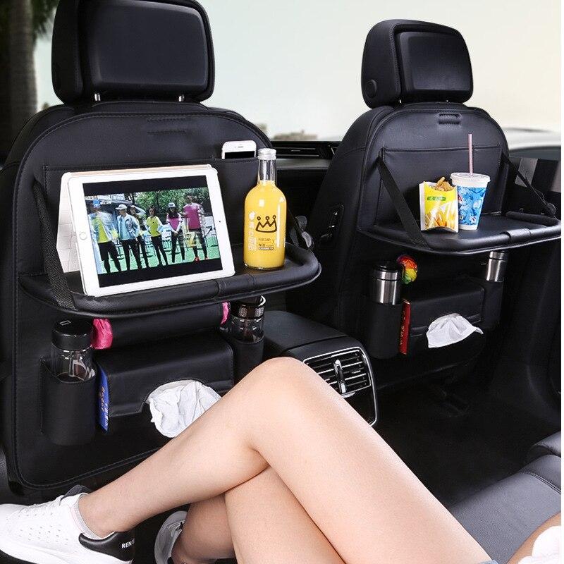Auto Veranstalter Tasche Sitz Zurück Speicher Verstauen Aufräumen Mit Hängen Tabelle Tasche Protector Reise PU Leder Kinder Trinken Zubehör