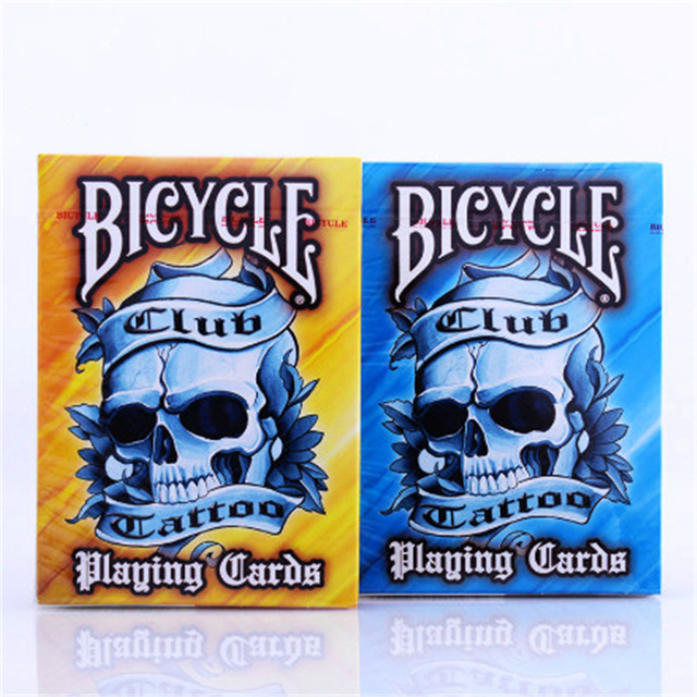 1PCS BICYCLE Poker Club Tattoo V2 Playing Card  (Blue Or Orange Colors) Magic Deck Props Magic Trikcs Props 81269