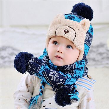 Fashion Winter Baby Winter Hat Scarf Sets Children Knitted Caps Scarves Set  Earflap Accessories LL15091103 2b51d331f6e9