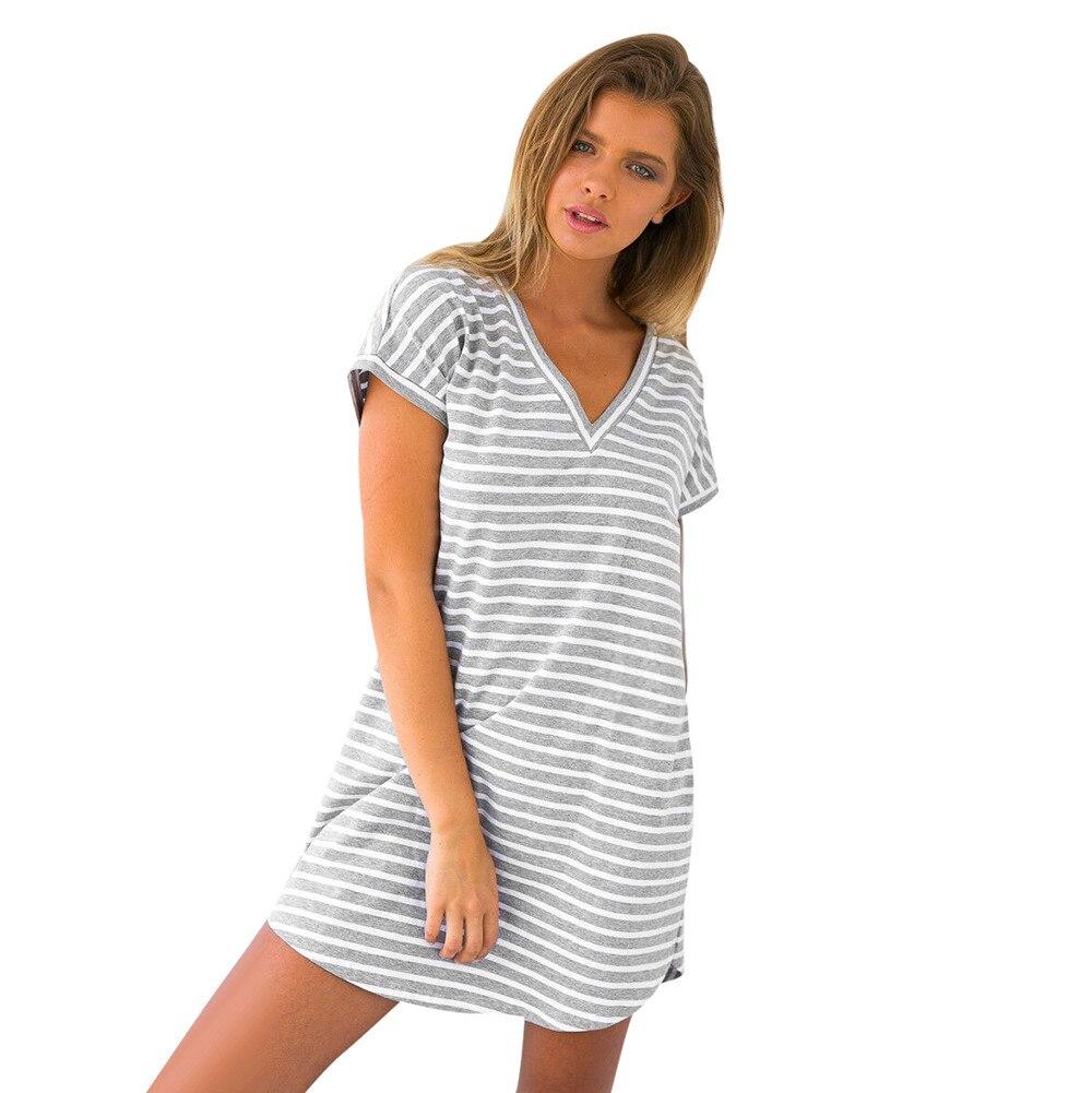 2017 New Casual Summer Women Fashion Stripe V-Neck Short Sleeve Striped Loose T-Shirt Dress Pregnant Women Dress
