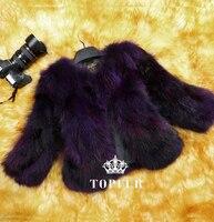 Natural Real Fox Fur Coat Genuine multi colors Fox Fur waistcoat Free Shipping DFP523