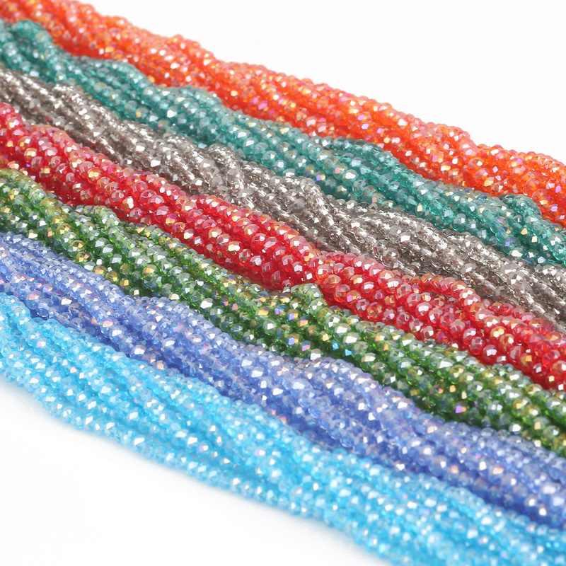 Vendita calda 24 colori 145 Pz/lotto 3 millimetri di Cristallo di Modo Austria Sfaccettato Allentati Rotondi del Distanziatore Perle di Vetro per Monili Che Fanno commercio all'ingrosso