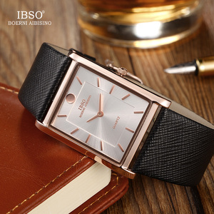 Image 1 - IBSO Brand Men Wrist Watch Luxury Quartz Watch Creative Rectangle Dial Business Men Leather Watches 2019 Erkek Kol Saati #2232