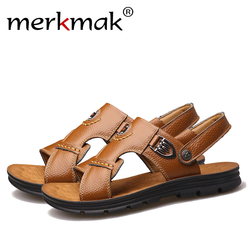Merkmak Brand Casual Men Sandals Genuine Leather High Quality Summer Beach Man Slippers Male Flats Comfortable Shoes Drop Ship