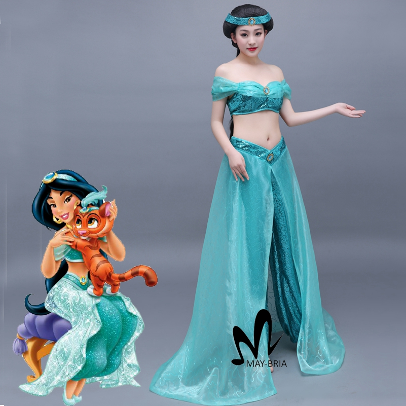 Aladdin and the Magic Lamp Jasmine cosplay costume Adult Halloween costumes Fancy belly dance clothing Princess Jasmine costume 9cm aladdin jasmine princess collection figure toys aladdin and the magic lamp home decoration figure toys