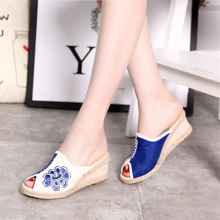 Summer Sandals Slip on Peep Toe Women sandals Slippers Casual Shoes vintage Linen Canvas Platform Wedge Sandals Lady 39 s Shoes in Middle Heels from Shoes