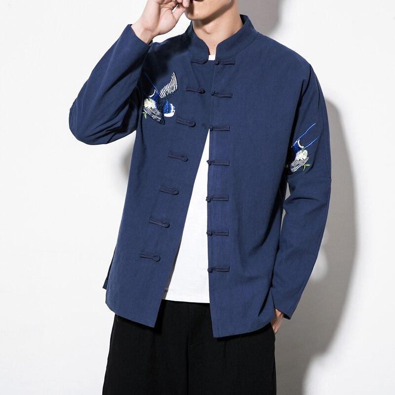 2019 printemps à manches longues vêtements traditionnels chinois Tang costume Top hommes oiseau broderie veste pour hommes chemise col Mandarin 5XL