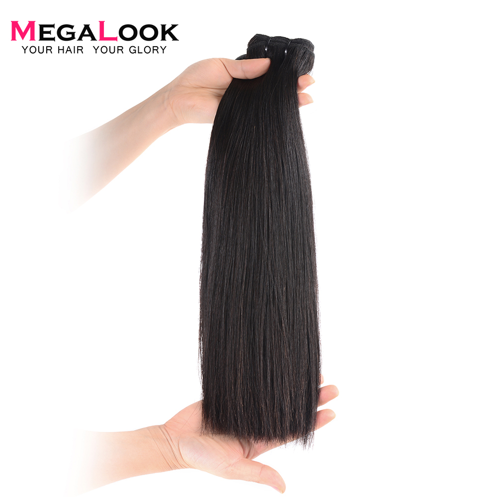 Megalook Human-Hair-Bundles Closure Weave Straight Double-Drawn Brazilian Virgin-Unprocessed