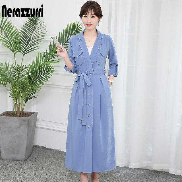 Nerazzurri חולצה שמלת נשים בתוספת גודל בגדי 5xl 6xl 7xl ארוך חם מקסי שמלה עם שרוולים אלגנטי הדוק משרד עבודה שמלה