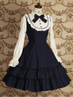 Spring princess cosplay lolita dress royal vintage lace formal dress long sleeve one piece dress