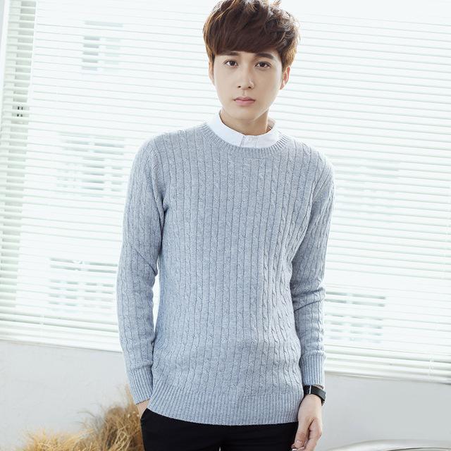 2016 Novas Blusas De Lã Pullovers dos homens Para Os Homens de Design Da Marca Magro Camisola Ocasional Quente Cashmere Pullover Camisola de Malha Grossa homens