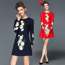 S-3XL 4XL 5XL Top Quality Plus Size 2015 Autumn Winter New Brand Women's Long Sleeve Floral Embroidery Elegant Slim Office Dress