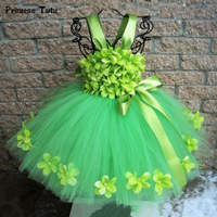 Green Girls Flower Tutu Dress Tulle Tinker Bell Fairy Princess Dress Kids Wedding Birthday Party Dresses