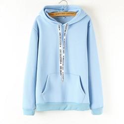 Hoodies Women 2019 Brand Female Long Sleeve Solid Color Hooded Sweatshirt Hoodie Tracksuit Sweat Coat Casual Sportswear B0307 5