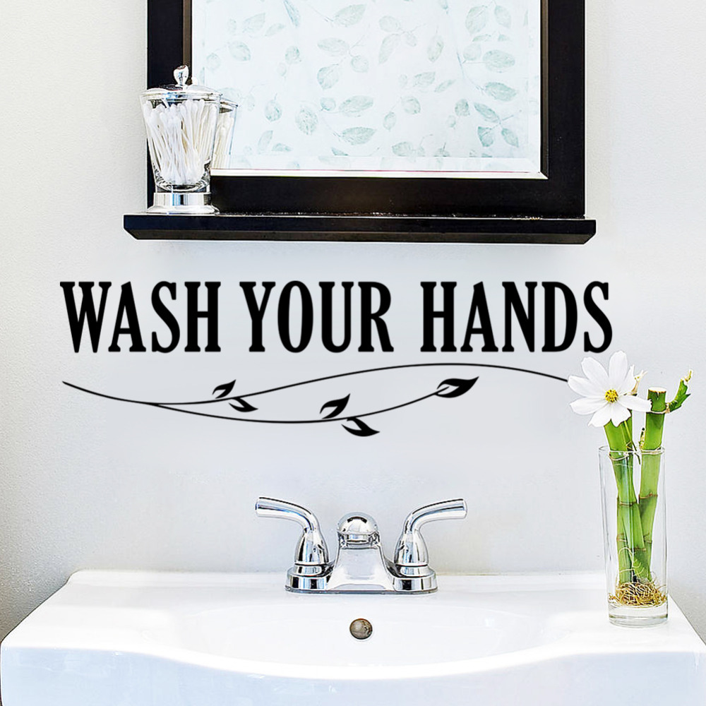 Bathroom wall decor quotes - Wash Your Hands Wall Sticker Quotes Bathroom Toilet Wall Decor Poster Waterproof Art Vinyl Decal Bathroom