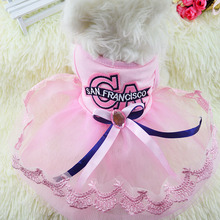 KIMHOME PET Dog Dresses For Small Dogs Cotton Lace Fabric CA Cute Princess Dog Dress Dog Halloween Costume Pet Clothes XS-XXL
