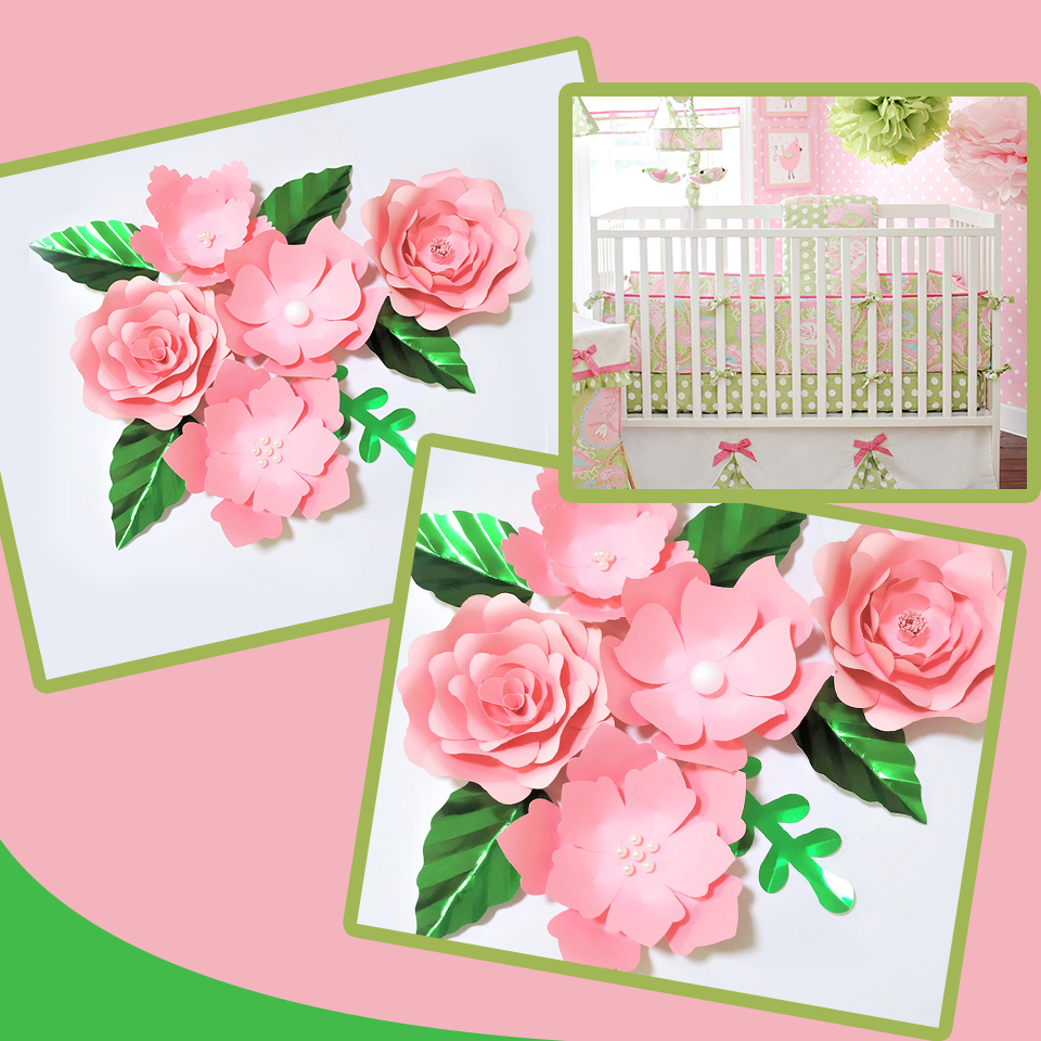 Handmade Pink Rose DIY Paper Flowers Green Leaves Set For Party Wedding Backdrops Decorations Nursery Wall Deco Video Tutorials
