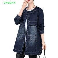 Spring Autumn Denim Jacket For Women Plus Size Long Sleeve O Neck long Jeans Jacket Women Denim Coat Ladies Coats Jackets A523