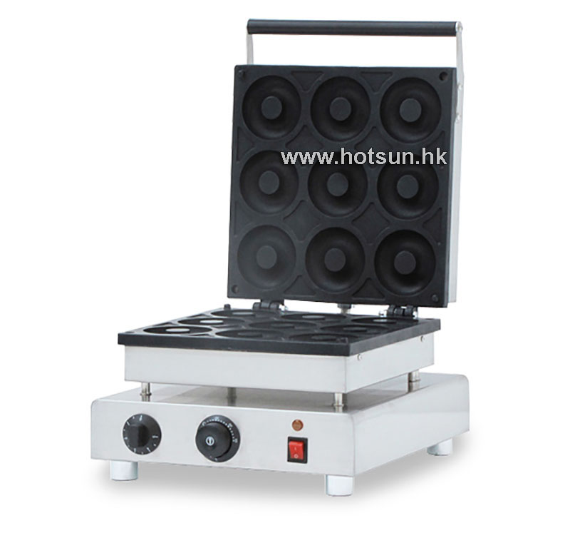 Free Shipping Commercial Non-stick 110V 220V Electric 9pcs 9cm Donut Doughnut Maker Baker Iron Machine 110v 220v automatic donut making machines with 3 mold free shipping