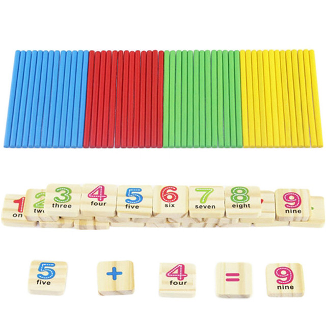 Wooden Numbers Sticks Mathematics Early Learning Counting ...