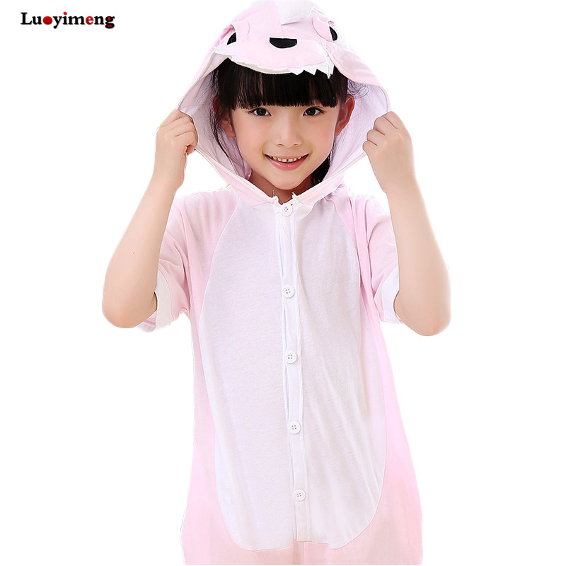 Summer Hooded Onesie Onepiece Pink Dinosaur Pikachu Cat Funny Pajamas Jumpsuit Pajamas For Kids Cotton Short Sleeves Outfit 2018