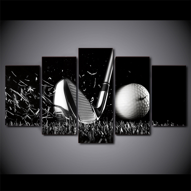 5 Pieces Still Life Black And White Golf Wall Art Canvas Pictures For  Living Room Home
