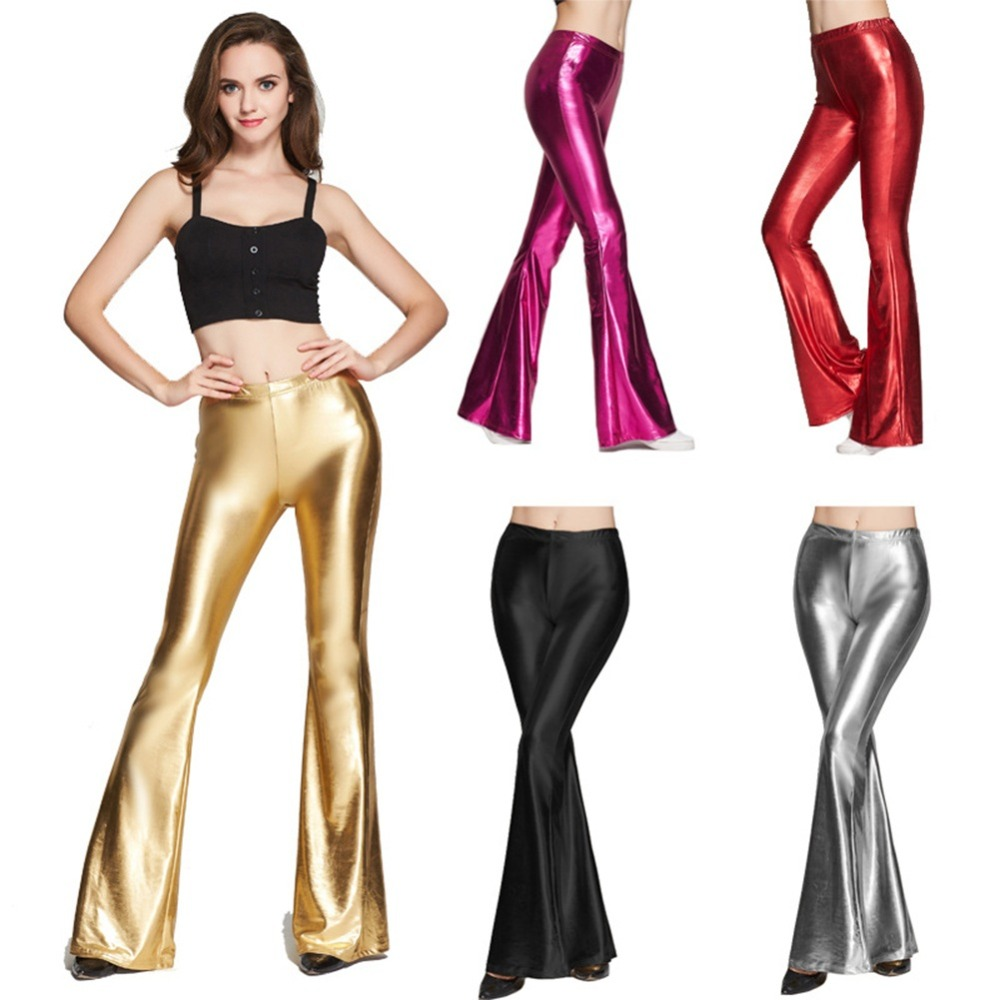 2019 New Fashion Women Wet Look Metallic Long Flared   Pants   Leggings Bell-bottom Trousers Street Club Wear Palazzo   Wide     Leg     Pants